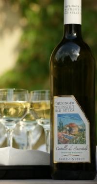 Fles wijn uit Thüringen, Duitsland